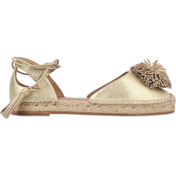 Aquazzura Sunshine espadrille flat ($245) ❤ liked on Polyvore featuring shoes, flats, gold, gold flats, espadrille flats, flat shoes, flat footwear and gold shoes