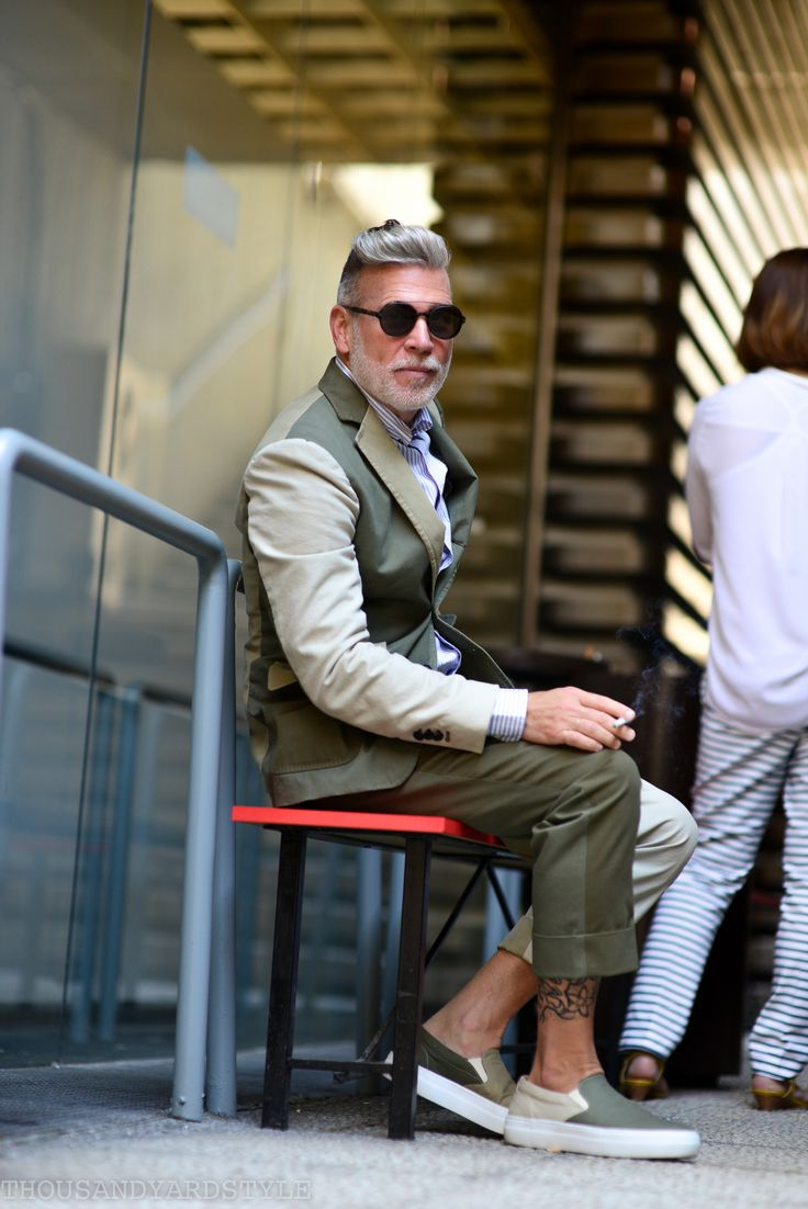 Nick Wooster wearing his Lardini collection, Pitti Uomo street style