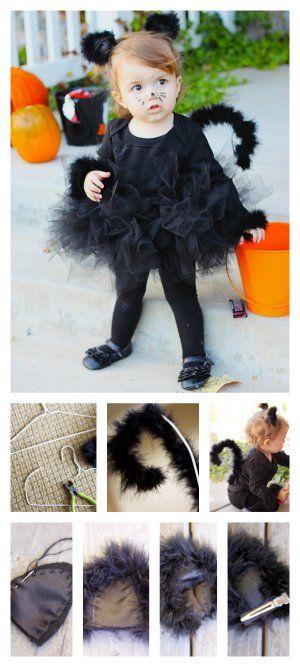 Disfraz de gato para bebés en Halloween