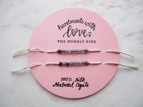 Friendship bracelet set of 2//silk friendship by TheHumbleRing
