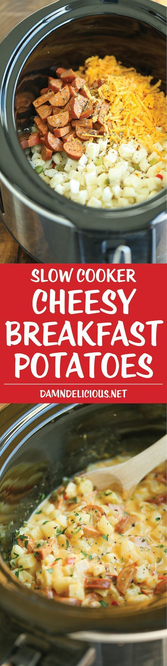 Slow Cooker Cheesy Breakfast Potatoes - This is the ultimate breakfast worth…