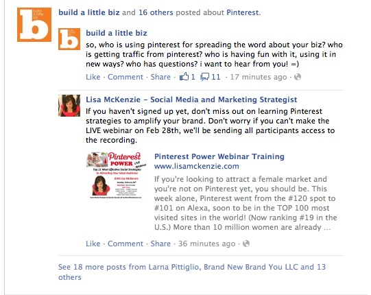 Timing can be everything on Facebook. When posting about certain topical content you need to make sure that you can get great coverage for your post but won't be pushed to the bottom. In this picture you will see that 18 people are talking about one topic but only the top two are visible. It may be best to wait a few days/hours to make sure your post is seen.