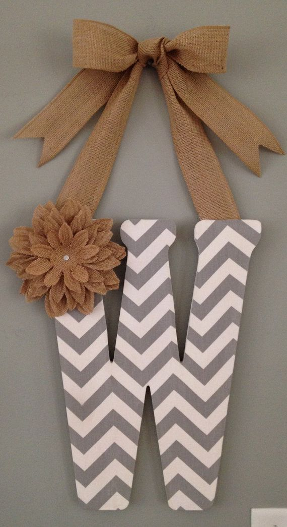 CUSTOM 18 inch fabric covered wooden letter with by PrettyFabDecor