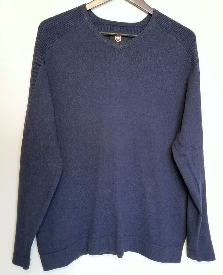 Victorinox Men's Sweater Large L Blue Swiss Army Cotton #Victorinox #VNeck
