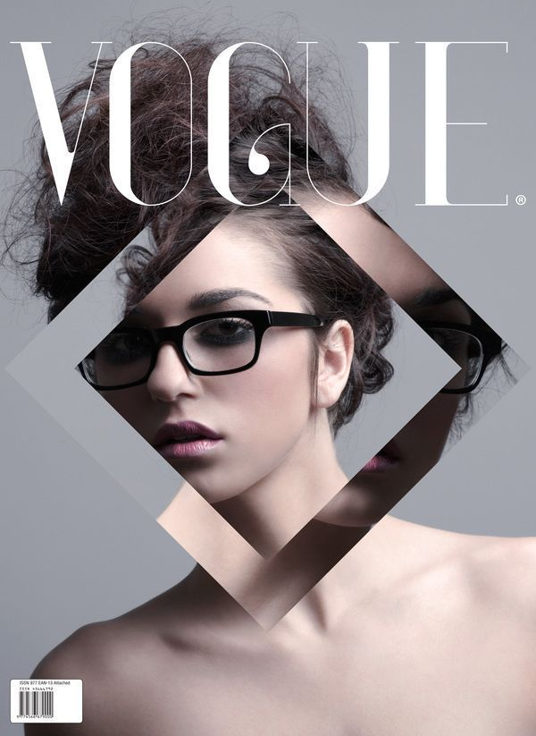 Vogue - Great Use of 2 images & geometric shapes, and a classy contrast of colour.