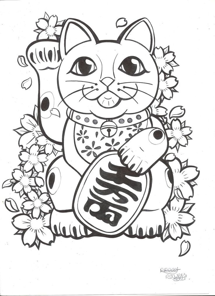 Lucky Cat tattoo commission by RavensSoulDesigns.deviantart.com on @deviantART