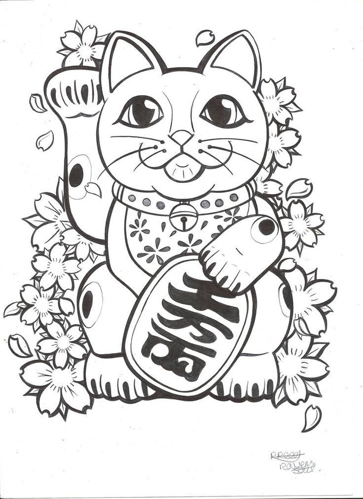 Lucky Cat tattoo commission by RavensSoulDesigns.deviantart.com on @deviantART