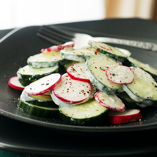 Radish Cucumber Salad Recipe at Diethood Radish and Cucumber Salad with Garlic Yogurt Dressing