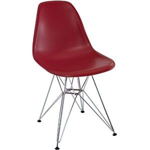 LexMod Plastic Side Chair in Red with Wire Base
