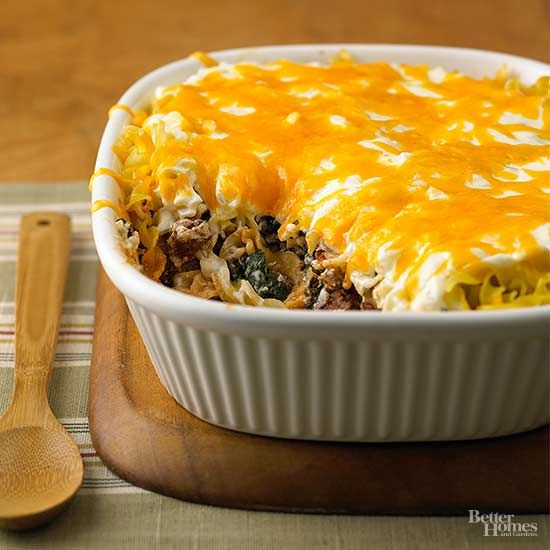Whether you need a potluck recipe or dinner tonight, this hamburger casserole is a perfect fit. Complete with layers of ground beef, noodles, and veggies, the cheese-topped casserole is a go-to comfort food./