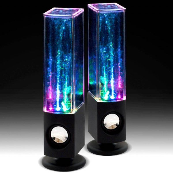 I like the color of the lights in these two speakers. The colors are really creative and they fit together. Even though the shape of the speakers is pretty normal, the color of the lights make them cool and interesting.