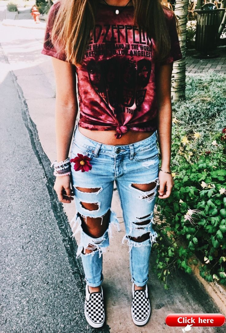 Oh My Gosh I Love It But I Would Get Dress Coded So Bad Cute Summer Outfits Ripped Jeans Outfit Clothes