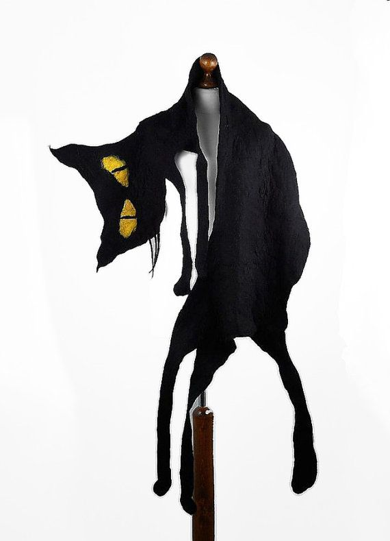 Cat Scarf Felted Scarf Surreal Gothic BLACK CAT SCARF by filcant, $169.00