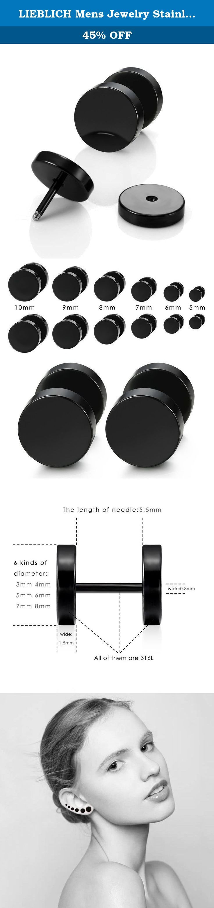 LIEBLICH Mens Jewelry Stainless Steel Black Stud Earrings Men Women Faux Gauges Ear Plugs Tunnel Earrings. These tunnel plug earrings give the illusion of larger plugs without stretching your ear holes. They screw on, cleans easily and are perfect for first time plug users. They work as either men earrings or as lady earrings. These black plated anodized stainless steel screw earrings are 5mm, 6mm, 7mm, 8mm, 9mm or 10mm in diameter. Multi sizes for endless style opportunities. Caring for...