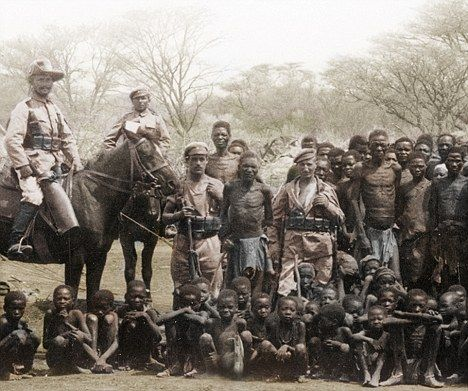 The newly invented Kodak roll-film camera was used by wealthier German officers to take home 'mementoes' of their time in Namibia Germany experiments on Africans.