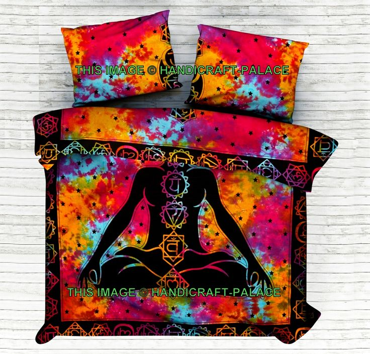 Indian Seven Chakra Reversible Duvet Cover Pillow Case Set Duvet Doona Quilt Cover Set #Traditional #Beautiful #Ethnic #Indian #Double #Bohemian #Hippie #Gypsy #Decor #Bedding #Set #tie&dye #floral #Love #decorative #Pillow #cushion #case #sham #slip #India #art #Multi #Tiedye #Queen #royal #luxury #bedding #room #home #decor #live #life #love #boho #cotton Free Shipping Worldwide #handicraftpalace #Spiritual #religious #meditation