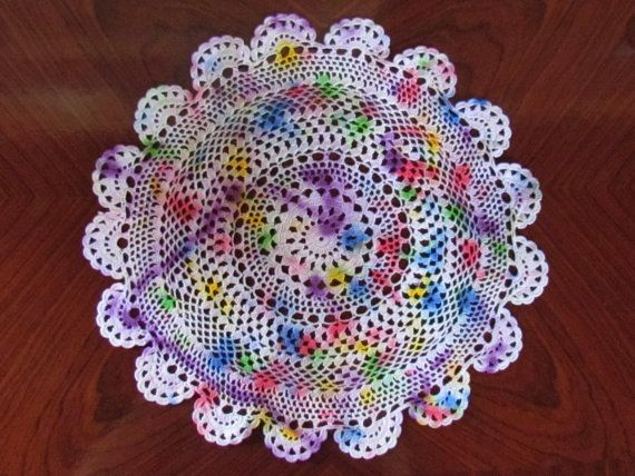 Hand Dyed Crochet Doily Hippie decor rainbow by doilydreaming