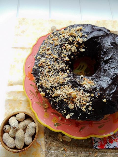 "vegan peanut butter bundt cake with dark chocolate ""buttercream"" frosting.: Cocoa Frosting, Bundt Cakes, Chocolate Buttercream Frosting, Vegan Peanut Butter, Chocolates, Almond Butter, Dark, Butter Bundt, Vegan Bundt"