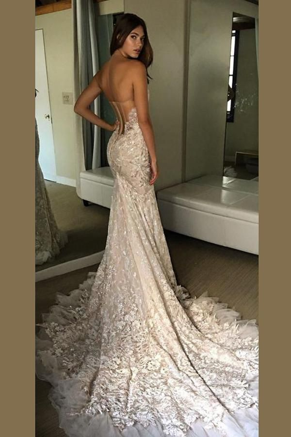 72c61aba1635 Sweetheart Strapless Open Back Wedding Dress,Sweep Train Wedding Gown –  Simidress