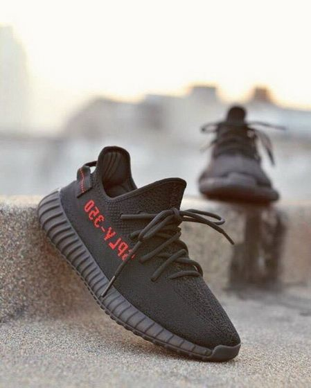 18d5d4137 Uk Size 9 4 10 Adidas Factory Materails Yeezy 350 V2 Pirate Bred Black With  Red Letters Basf 2018 New Sneaker