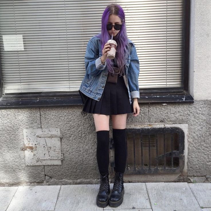 Black Tennis Skirt, Black High Knee Socks, Denim Jacket
