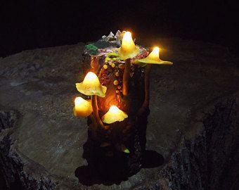 Mashroom lámpara - luz de la noche de hongos amarillo - moss y suculentas - hadas decoración - brillan en la oscuridad