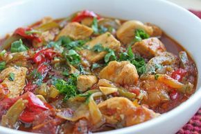 Poulet aux poivrons Weight Watchers, recette d'un bon petit plat délicieux et très simple à faire, à servir avec du riz ou une purée de pomme de terre.