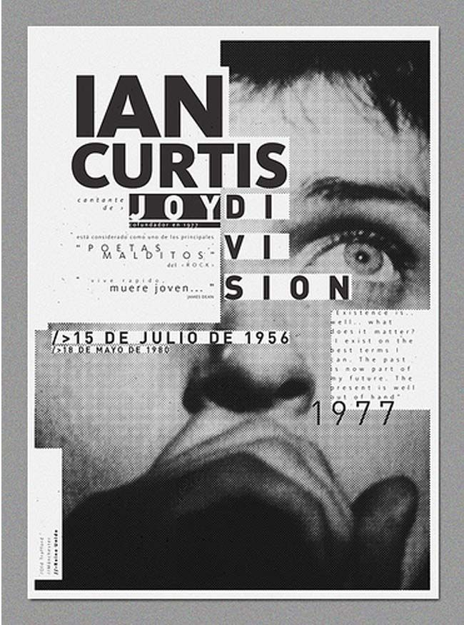 20 Unique Exhibition Poster Designs. Ian-Curtis poster has great typography. via @webdesigndev