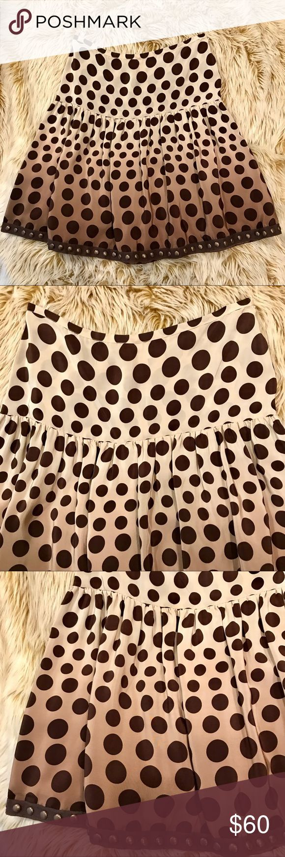 "Plenty Brand Ombré Vintage 100% silk skirt! EUC ❤️❤️EUC PLENTY brand mocha ombre polka dot yoked and gathered skirt! Purchased years ago in Manhattan and worn a few times! No flaws, excellent condition! Super flattering, fully lined, tacks on hem allow for movement and totally unique! Size 4. 100% silk. Measured laying flat: waist 14.5"", overall length 20.5"", length below yoke 18"", waist to yoke 6.75"". Happy Poshing and please ask any questions!!❤️❤️ Plenty Skirts A-Line or Full"