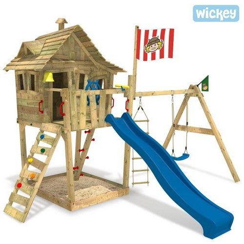 Cabane Wickey Monkey Island : 1520€ avec table de pique nique dans la cabane, bac à sable en dessous et mur d'escalade