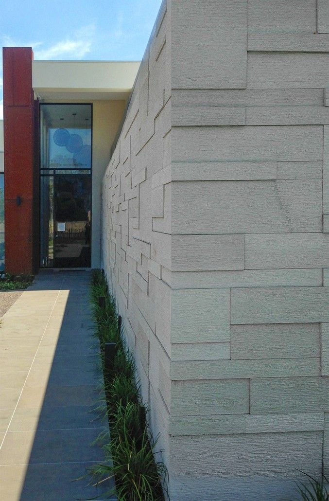 Etched White Limestone Feature wall