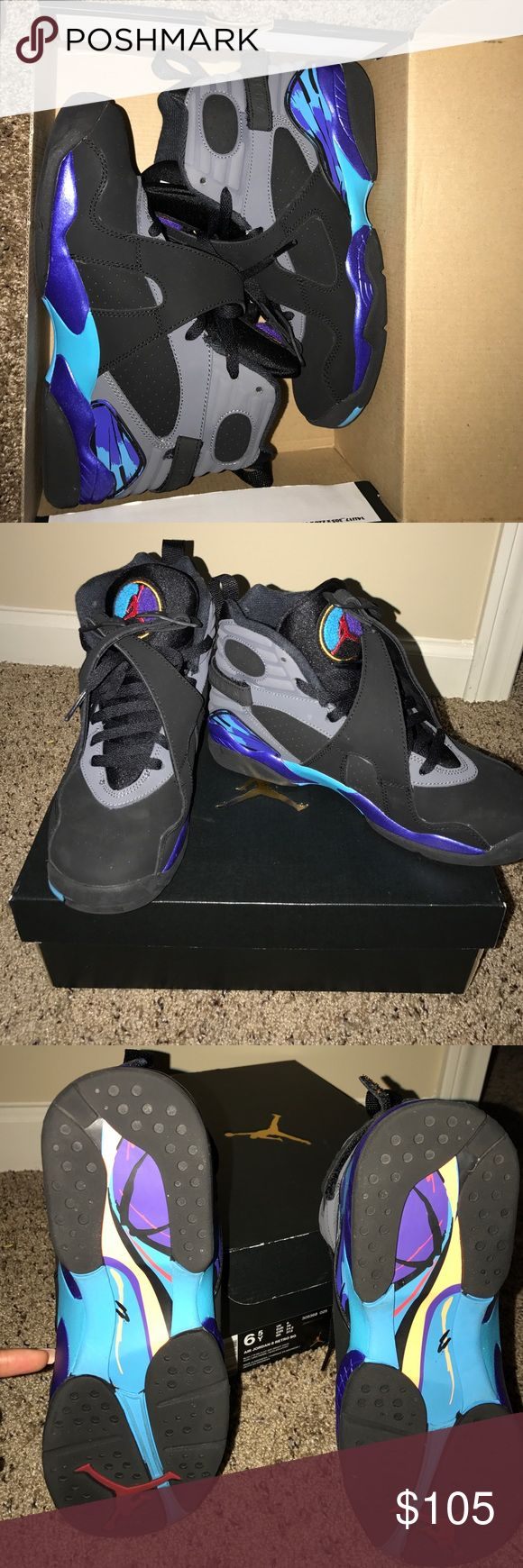 Air Jordan Aqua 8. Size 6.5Y. No scuffs. No scratches. No marks. Only worn once. Comes with original box. 100% Authentic. Jordan Shoes Sneakers