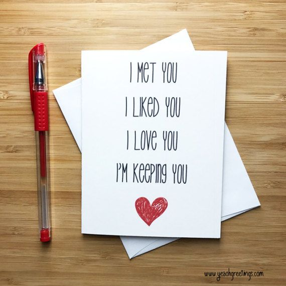 Sweet Love Card, Anniversary Card, Love Greeting Cards, Greeting Card, Just Because, Romantic Card, I love you, man, woman