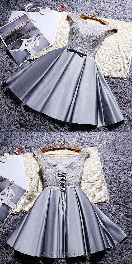 Short Prom Dresses Lace, 2018 Silver Prom Dresses For Teens Cheap, A-line Cocktail Dresses Scoop Neck, Satin Homecoming Party Dresses Lace-up
