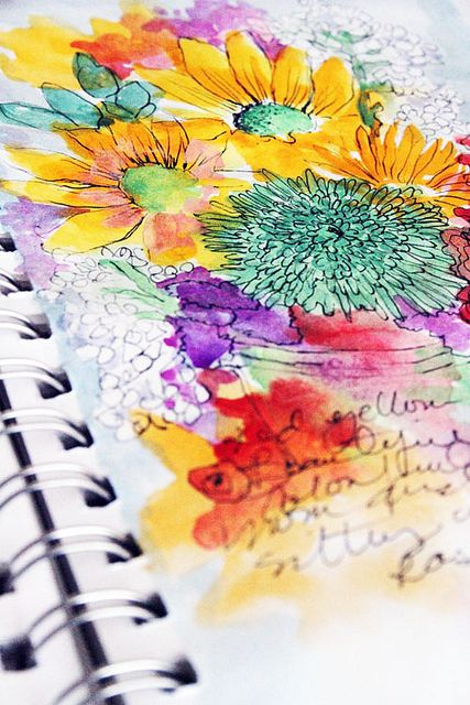 A beautiful art journal/sketchbook page from artist Alisa Burke. Love Alisa Burke