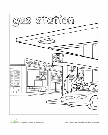 places around town coloring pages | Paint the Town: Gas Station | educational ideas | Pre k ...