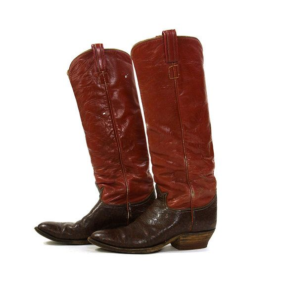 Tony Lama Red Leather Cowboy Boots / Vintage 1980s Tall Leather Western Riding Boots / Women's size 11 / Men's size 9.5