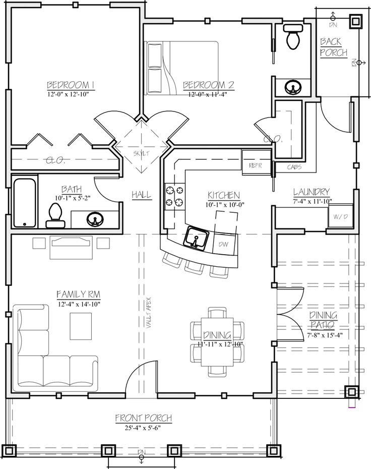 Craftsman Style House Plan - 2 Beds 1.5 Baths 1044 Sq/Ft Plan #485-3 Floor Plan - Main Floor Plan - Houseplans.com