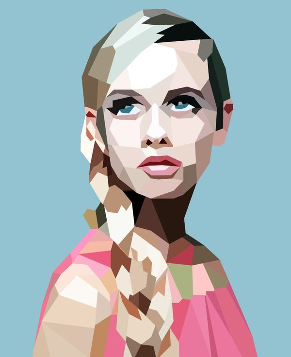 A Cubist interpretation of Twiggy, with a careful use of welcoming pastel colours.