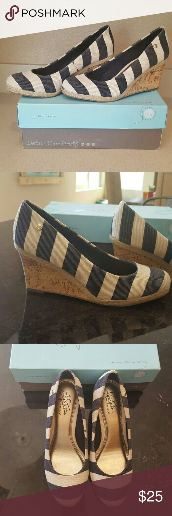 Cork wedge espadrille Shoes Size 7 Navy and cream stiped cork wedges with soft system cushioned soles. So adorable!! Used, worn once or twice. Great condition!! Life Stride Shoes Wedges