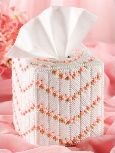 Plastic Canvas - Tissue Topper Patterns - Boutique-Style Patterns - Peaches & Cream Tissue Topper