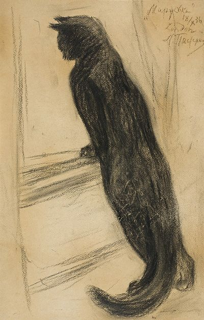 ¤ LEONID PASTERNAK - Marus'ka, the family cat London 1936; black chalk on paper.