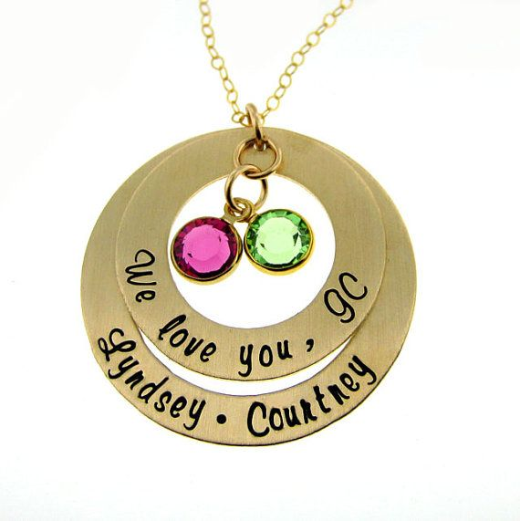 Hand Stamped Personalized Necklace - My Family Gold Necklace with Round Birthstones - Mothers and Grandmothers Jewelry (NN066)