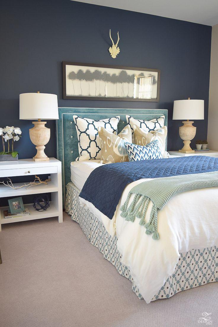 Aqua accent wall bedroom - A Guest Room Retreat Tour Navy Accent Wallsstudy