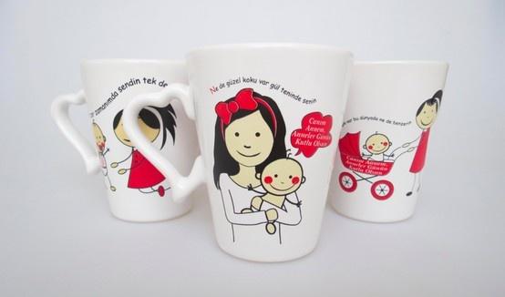 Anneler Günü'ne özel baskılı kupa www.gumuskalem.com.tr