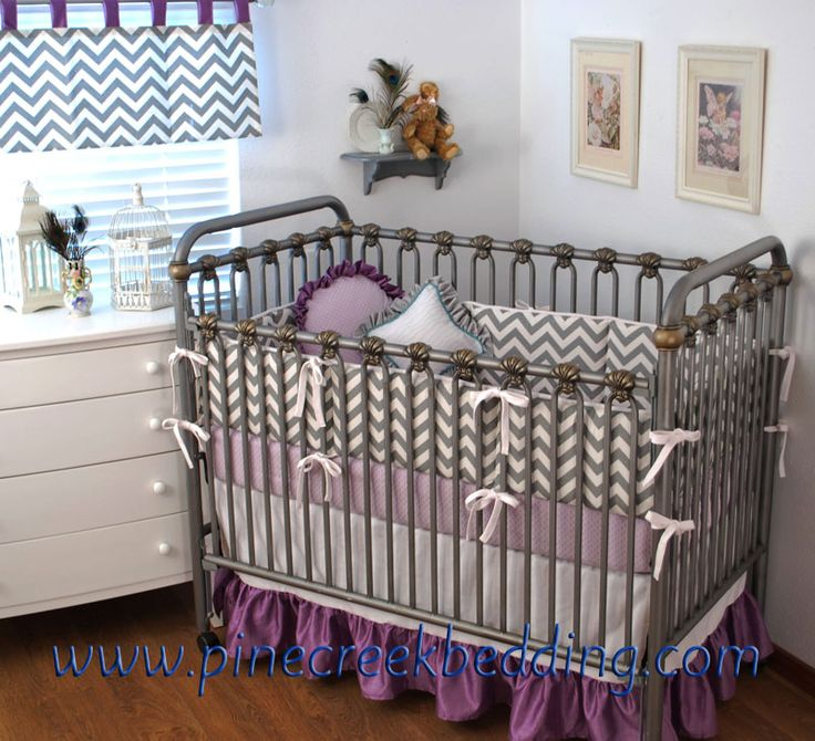 Grey Chevron And Lilac Crib Bedding