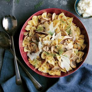 Wild Mushroom Farfalle   MyRecipes.com You can substitute fresh parsley or thyme for the dill. A little starchy pasta cooking liquid helps to bind the delicate sauce.