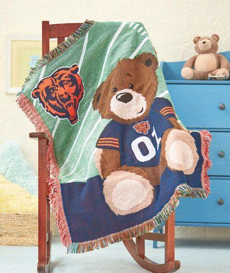 NFL Football Chicago Bears Baby Throw Blanket Teddy Bear Crib Nursery Decor New #ChicagoBears