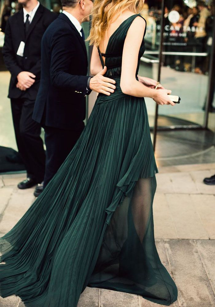 Dark Jade, Pleated gown - Damsel in Dior.