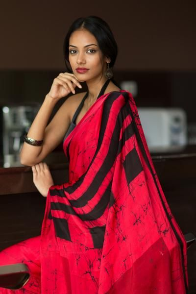 Batik Silk Saree - Raspberry Rush-Immediate Shipping - Order Now